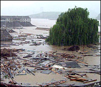 Flood hit Kangwon in North Korea in August 2007