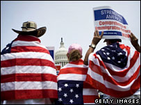 Immigration activists rally in front of the Capitol in Washington DC (file image)