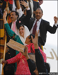 Benazir Bhutto arrives in Karachi