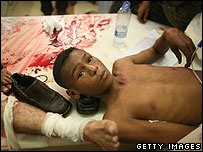 A wounded boy in hospital