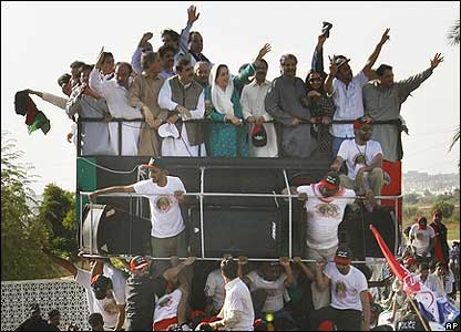 Ms Bhutto on board the truck earlier on Thursday