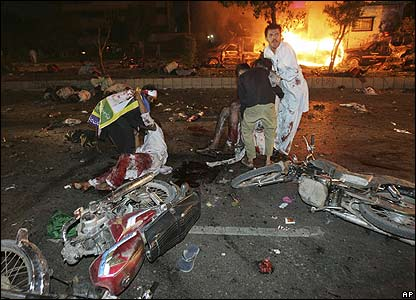 Aftermath of bomb in Karachi