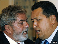 Hugo Chávez (presidente de Venezuela) y  Luiz Inácio Lula da Silva (presidente de Brasil)