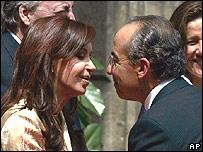 Cristina Fernández de Kirchner y Felipe Calderón, presidente de México