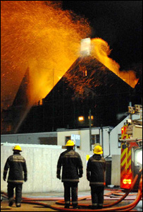 Fire at the Gwyn Hall in Neath