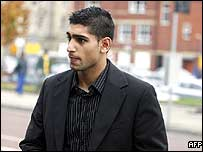 Amir Khan outside Bolton Crown Court
