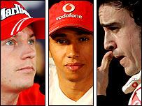 Kimi Raikkonen, Lewis Hamilton and Fernando Alonso