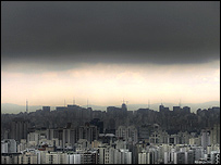 A cloud of smog hangs over Sao Paulo in Brazil