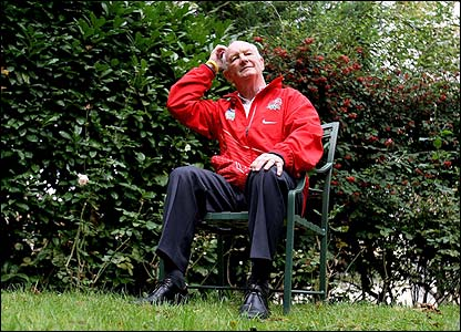 England coach Brian Ashton relaxes outside his Paris hotel