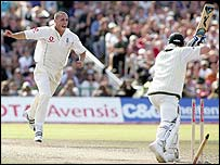 Jones bowls Michael Clarke during the 2005 Ashes series