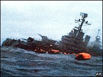 Hundimiento del buque de guerra, general Belgrano - imagen de TV.