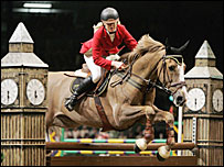 Ellen Whitaker of Great Britain rides Kanselier at Olympia