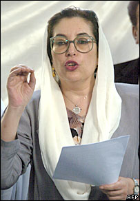Benazir Bhutto speaks after the Karachi blasts