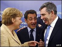 From left: German Chancellor Angela Merkel, French President Nicolas Sarkozy and British Prime Minister Gordon Brown at EU summit
