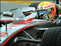 Lewis Hamilton during first practice at the Brazilian GP