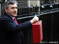 Gordon Brown as chancellor with his red budget box