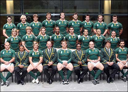 The South African team and staff pose for a photograph at the team hotel in Paris