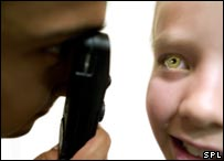 Girl undergoing eye examination