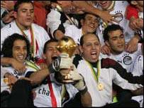 لاعبو مصر يحتفلون بكأس أفريقيا