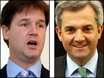 Nick Clegg (left) and Chris Huhne. Pictures from PA and Getty
