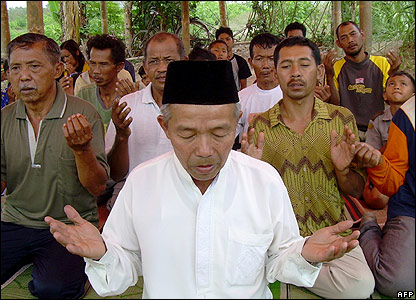 Men praying after Friday prayers