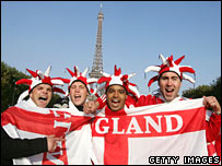 England rugby fans in Paris