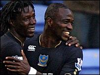 Benjani Mwaruwari celebrates scoring Portsmouth's opener