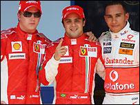 Kimi Raikkonen, Felipe Massa and Lewis Hamilton