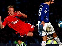 Dirk Kuyt challenges Phil Neville