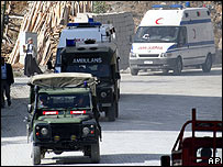 An ambulance carries injured Turkish soldiers following a clash with Kurdish rebels