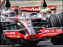 Fernando Alonso and Lewis Hamilton in their McLarens