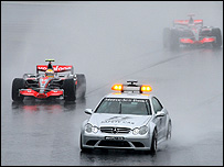 Lewis Hamilton follows the safety car during the Japanese Grand Prix