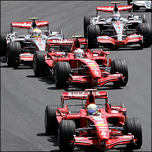 Lewis Hamilton (top left) is put under pressure by Fernando Alonso (top right) as the Ferrari's lead
