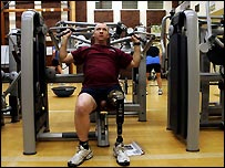 Injured serviceman in the gym at Headley Court