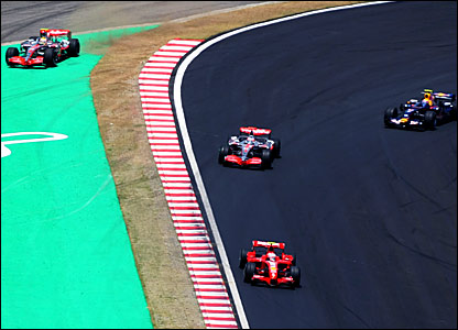 Lewis Hamilton (top left) goes off the track while trying to overtake Fernando Alonso (centre)