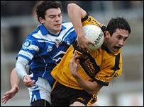 Cavan Gael's Eamonn Reilly (left) and St Eunan's Rory Kavanagh