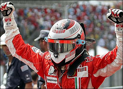 Kimi Raikkonen celebrates winning in Brazil