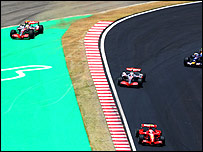 Lewis Hamilton slides off the track on the first lap of the Brazilian Grand Prix