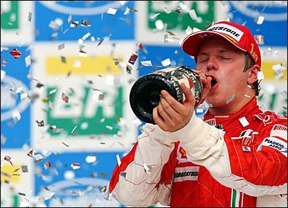 Kimi Raikkonen celebrates winning the world title in Brazil