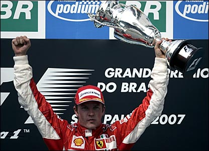 Kimi Raikkonen celebrates in Brazil