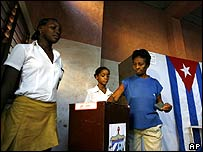 A woman voting in Havana