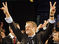 Donald Tusk celebrates the publication of exit polls