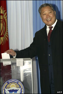 President Kurmanbek Bakiyev votes in referendum, 21/10