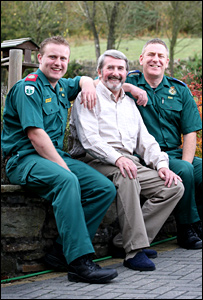 Keith Rosser, paramedic Gareth Jones, left, and technician Roger Hubbard