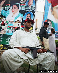 Security man outside Ms Bhutto's home