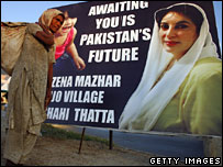 A placard of Benazir Bhutto