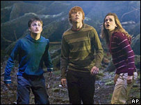 Daniel Radcliffe, Rupert Grint and Emma Watson in a Harry Potter film