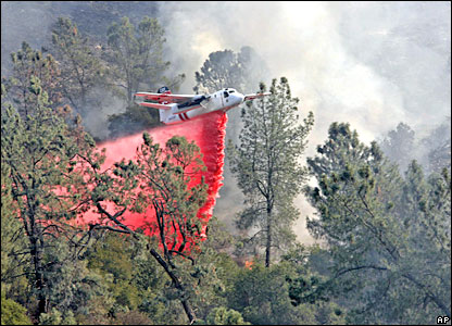 A tanker drops fire retardant on the Sedgwick Reserve fire in Santa Ynez, Santa Barbara County
