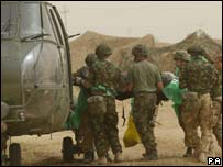 British soldier being airlifted to hospital