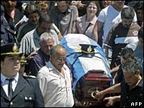 Funeral of Sergeant Pedro Diaz, killed along with two other police officers on 19 October
